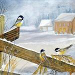 """Birds on the Fence"" watercolor on paper, $195, Reproductions available"