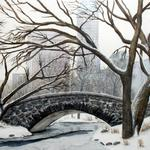 """Central Park in Winter"" watercolor on paper, 20""x24"", $350, Reproductions available"