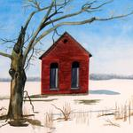 """Deserted Ice House"" watercolor on paper, 19""x22"", $295, Reproductions available"