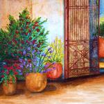 """Flower Pots with Gate"" watercolor on paper, $175, Reproductions available"