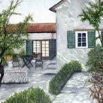 """French Country House"" watercolor on paper, $295, Reproductions available"