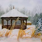 """Gazebo in Snow"" watercolor on paper, 16""x18"", $295, Reproductions available"