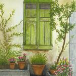 """Green Shutters"" watercolor on paper, $175, Reproductions available"