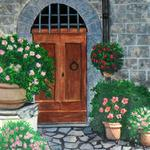 """Monastery Door"" watercolor on paper, $175, Reproductions available"