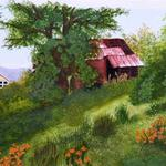 """Red Barn Falling Down"" watercolor on paper, $175, Reproductions available"