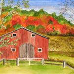 """Red Barn in Autumn"" watercolor on paper, 14""x18"" $175, Reproductions available"