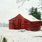 """Red Barn in Winter"" watercolor on paper, 20""x24"", $175, Reproductions available"