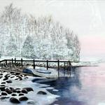 """Winter Sunrise on the Lake"" watercolor on paper, $175, Reproductions available"